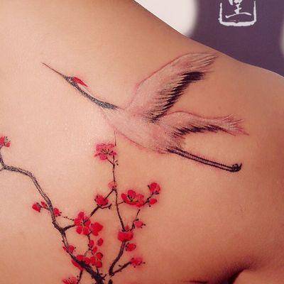 水墨仙鹤纹身款式图