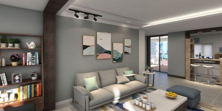 80平米一居室现代简约风格客厅图