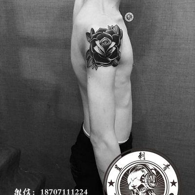 school玫瑰纹身款式图
