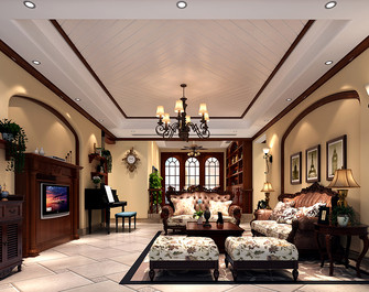 140平米一室两厅美式风格客厅设计图