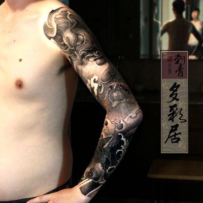 传统不动明王花臂纹身图