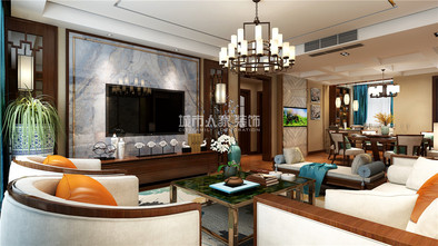 140平米三室两厅中式风格客厅装修案例