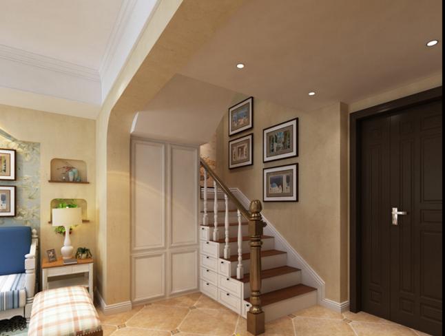 玄关鞋柜装修效果图 楼梯下的空间被合理利用起来,设计一个收纳柜是个
