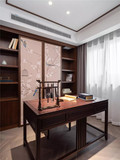 140平米三室一厅中式风格书房图