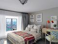 60平米现代简约风格卧室背景墙效果图
