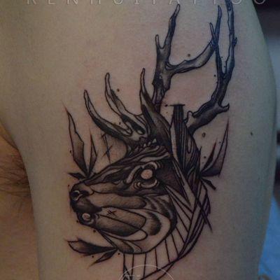 作品--鹿纹身图