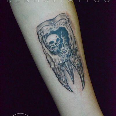 作品--牙齿骷髅纹身款式图