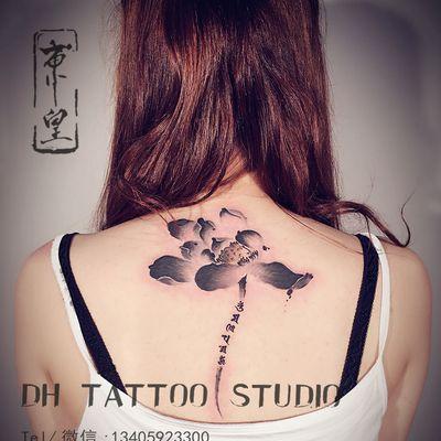 水墨莲花纹身款式图