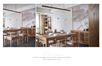 90平米三室两厅日式风格餐厅装修效果图