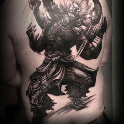 阿修罗满背纹身图