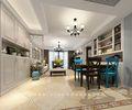 80平米三室两厅美式风格餐厅壁纸设计图