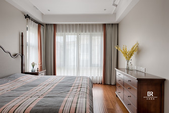 140平米别墅英伦风格卧室效果图