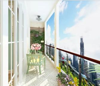 80平米田园风格阳台装修效果图