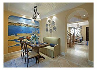 120平米三室一厅田园风格餐厅装修效果图