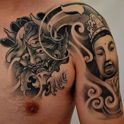 菩萨和般若半甲纹身图