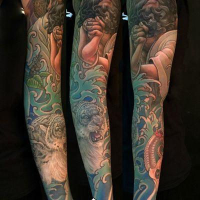 达摩雪豹彩色花臂纹身图
