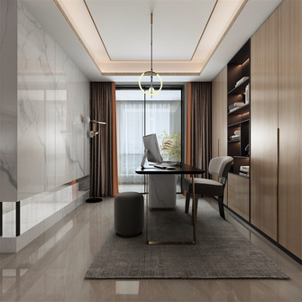 140平米三室三厅其他风格书房图片大全