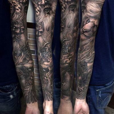 黑白大猿王花臂纹身图