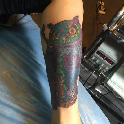 猫头鹰遮盖纹身款式图