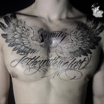 天使胸花纹身款式图