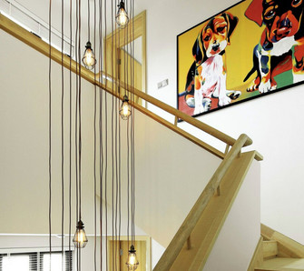 90平米混搭风格楼梯间装修案例