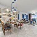 130平米公寓地中海风格餐厅图