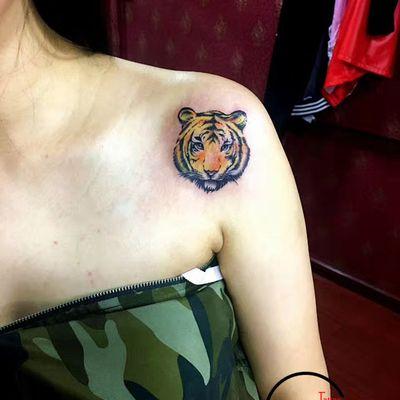 彩色小老虎纹身款式图