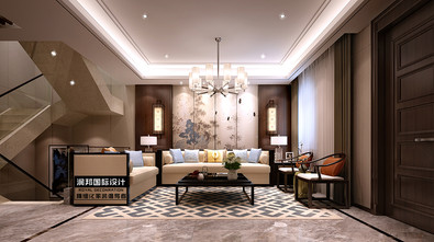 富裕型140平米别墅中式风格楼梯图片大全