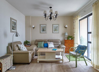 富裕型90平米三室两厅田园风格客厅图片大全