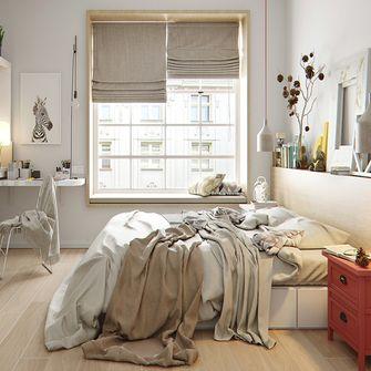 120平米三室一厅宜家风格卧室图片