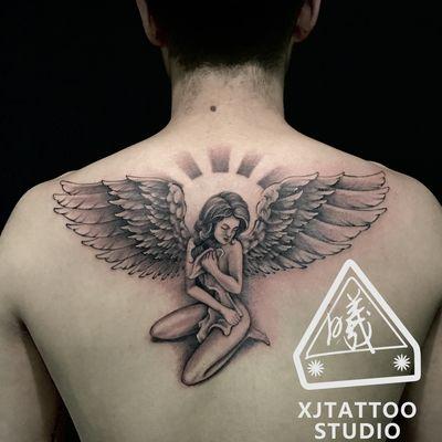 后背天使纹身款式图