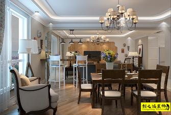 130平米三室一厅美式风格餐厅欣赏图
