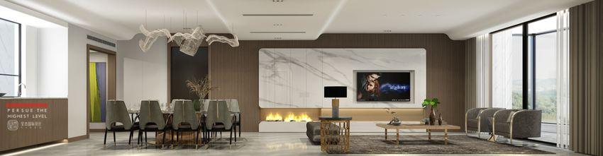140平米四室四厅现代简约风格客厅图片大全