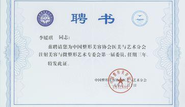 中国整形美容协会医美与 艺术分会注射美容与微整形艺术专委会委员聘书