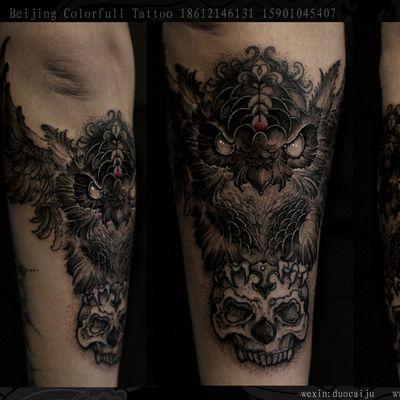 暗黑猫头鹰纹身图