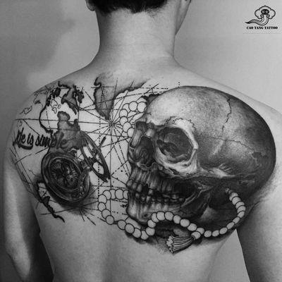 骷髅指南针-老曹纹身图