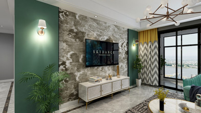 110平米三室两厅现代简约风格客厅装修效果图