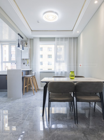 130平米三室三厅混搭风格餐厅图片