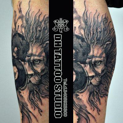 定制水墨狮子纹身款式图
