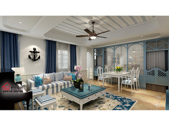 80平米四室一厅地中海风格客厅图片