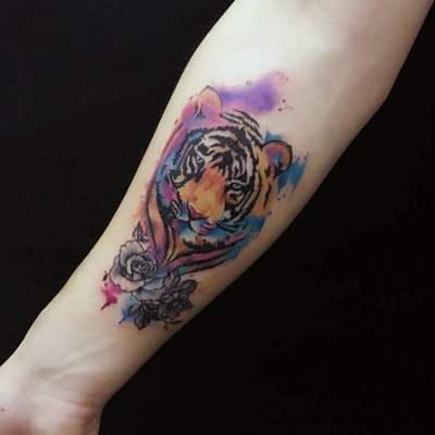 泼墨,虎纹身款式图