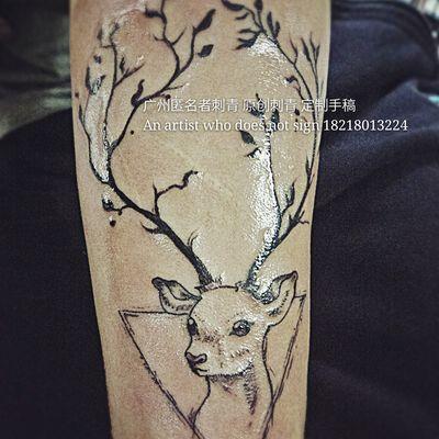 麋鹿森林纹身图