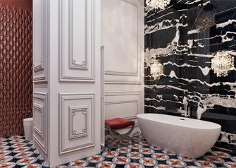 豪华型110平米三室三厅法式风格卫生间欣赏图