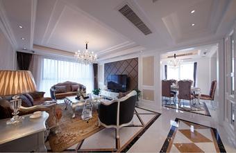 120平米三室两厅新古典风格客厅设计图