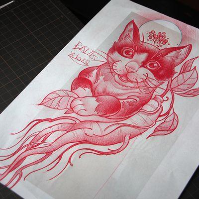 人参猫咪纹身款式图
