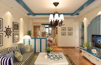 90平米三室一厅地中海风格餐厅图片大全