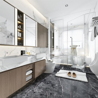 120平米三室三厅现代简约风格卫生间图片