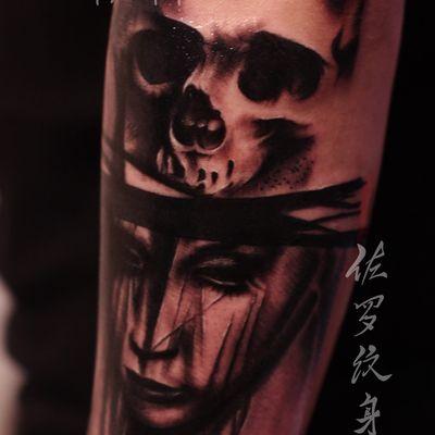 骷髅写实案纹身款式图