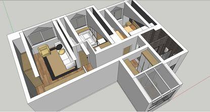100平米三室两厅日式风格阁楼效果图