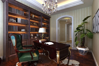 140平米四室三厅美式风格书房图片